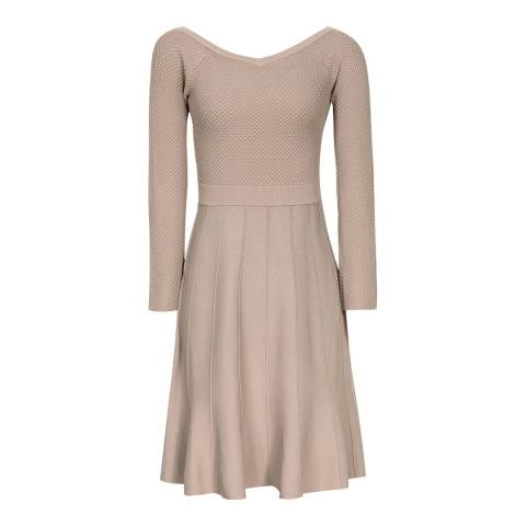 Reiss Neutral Astra Bardot Dress