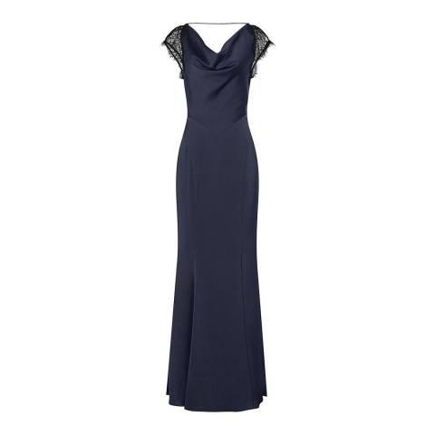 Reiss Night Navy Vittoria Crepe Dress