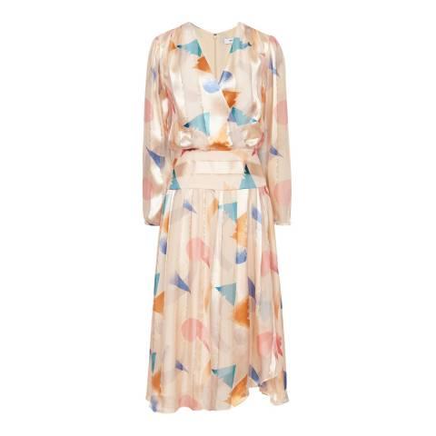 Reiss Neutral Melody Silk Blend Dress