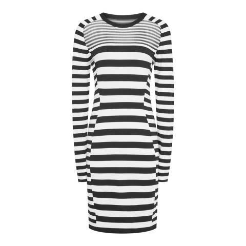 Reiss Black/White Jolie Stripe Dress