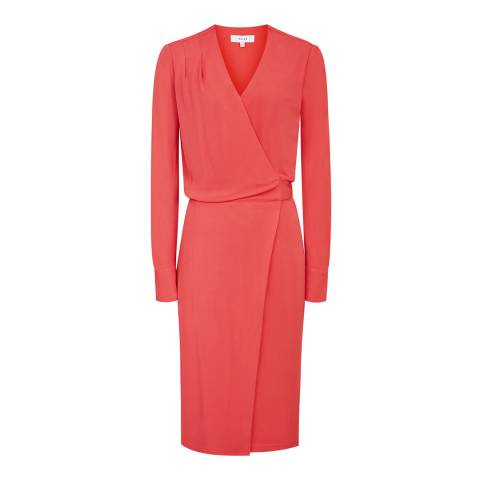 Reiss Watermelon Grace Wrap Dress