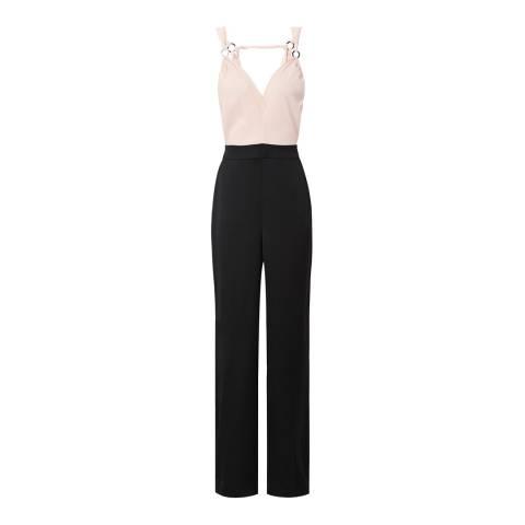 Reiss Black/Pink Rocco Tie Strap Jumpsuit