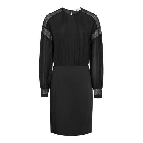 Reiss Black Lia Lace Shoulder Dress