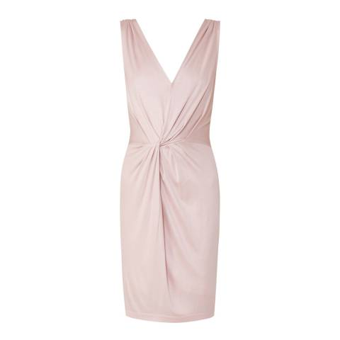 Reiss Pink Kiera Twist Detailed Dress