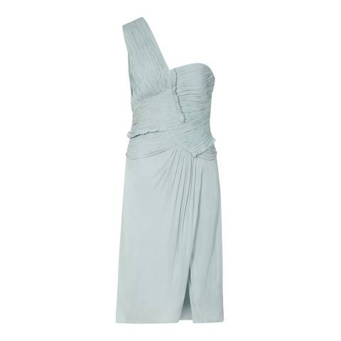 Reiss Pale Sage Abby One Shoulder Dress