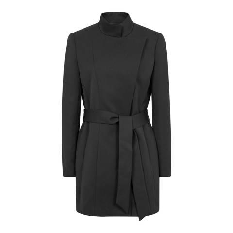 Reiss Black Luca Wrap Front Jacket