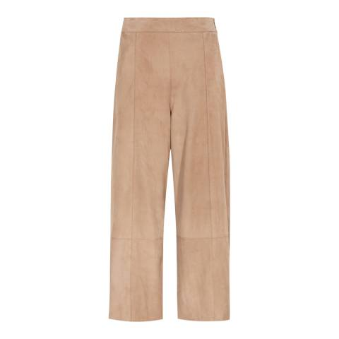 Reiss Neutral Renee Suede Culottes