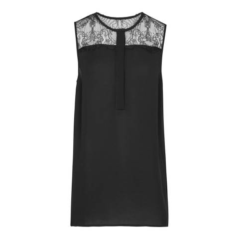 Reiss Black Kallie Lace Detail Top