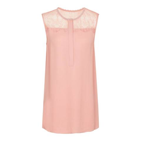 Reiss Pale Pink Kallie Lace Detail Top