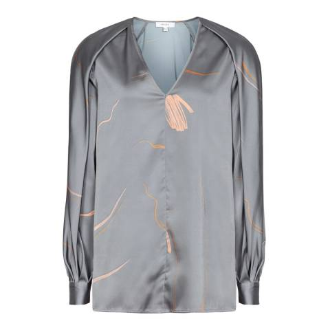 Reiss Grey Pippy Abstract Printed Blouse