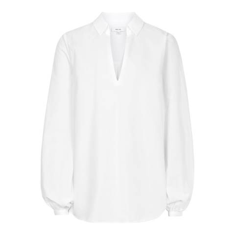 Reiss Off White Veronica Cotton Blouse