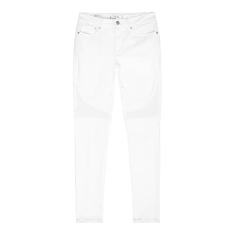 Reiss White Harley Biker Skinny Stretch Jeans