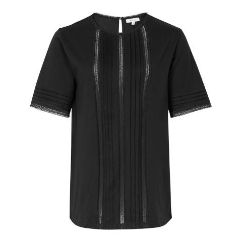 Reiss Black Ada Lace Insert Cotton T-Shirt