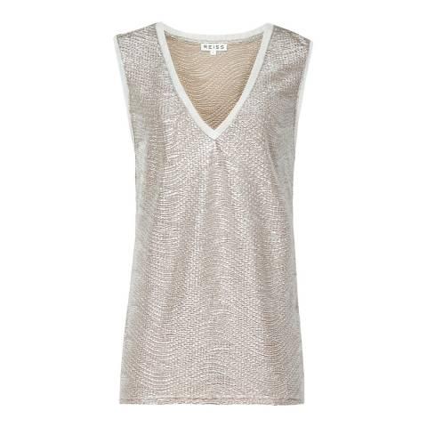 Reiss Gold Metallic Ona Vest Top