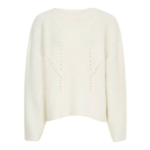 Reiss Off White Meagan Ribbed Jumper