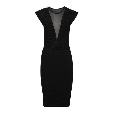 Reiss Black Holly Plunge Mesh V Dress