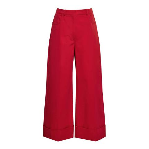 Reiss Red Etoni Cotton Twill Wide Leg Trousers