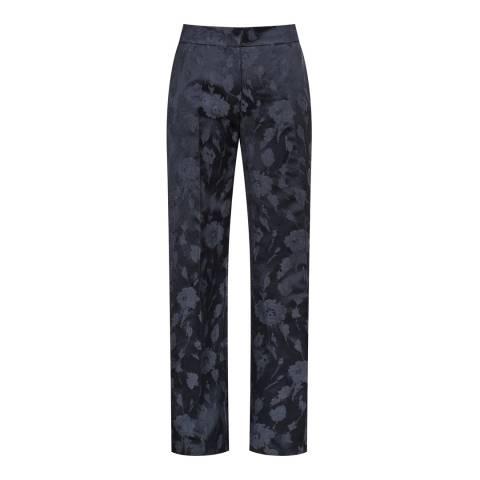 Reiss Navy Peony Jacquard Trousers