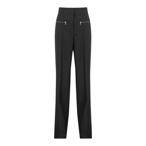 Reiss Black Miller Zip Detail Trousers