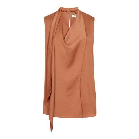 Reiss Bronzed Blush Claire Draped Sleeveless Top