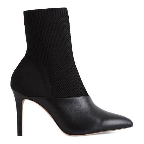 Reiss Black Cosmos Knitted Ankle Boots