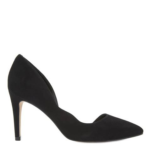 Reiss Black Bardot Suede Curved Heels