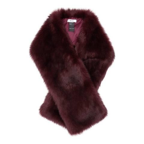 Reiss Ox Blood Faux Fur Scarf