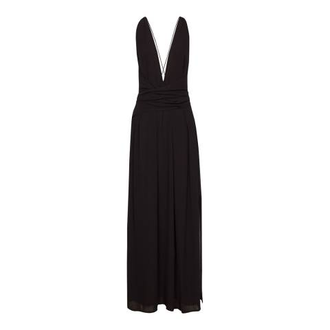 Reiss Black Lilianna Plunge Maxi Dress