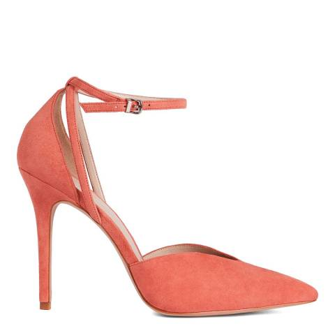 Reiss Salsa Pink Katya Sued Ankle Strap Shoes