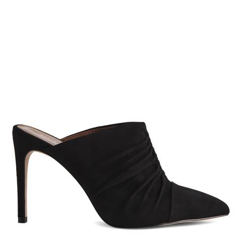 Reiss Black Ameline Ruched Front Mules