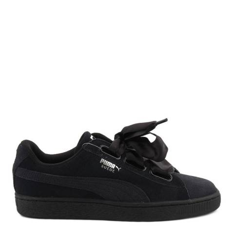 Puma Black Suede & Canvas Heart Sneakers