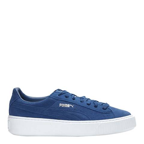 Puma Blue Suede Platform Sneakers