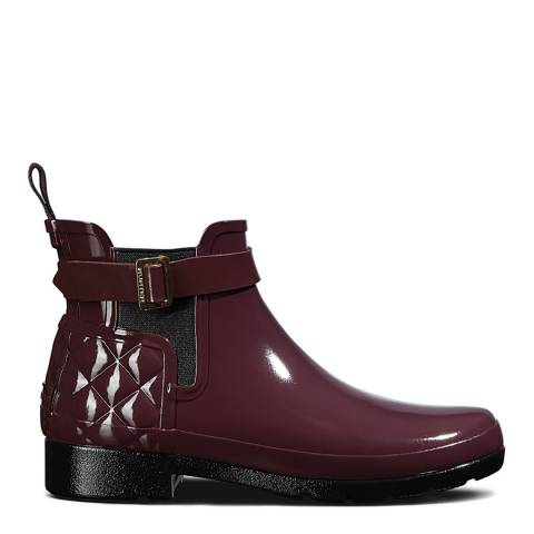 Hunter Oxblood Refined Gloss Quilted Chelsea Boots