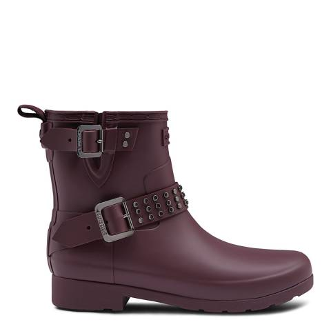 Hunter Oxblood Refined Studded Biker Boots