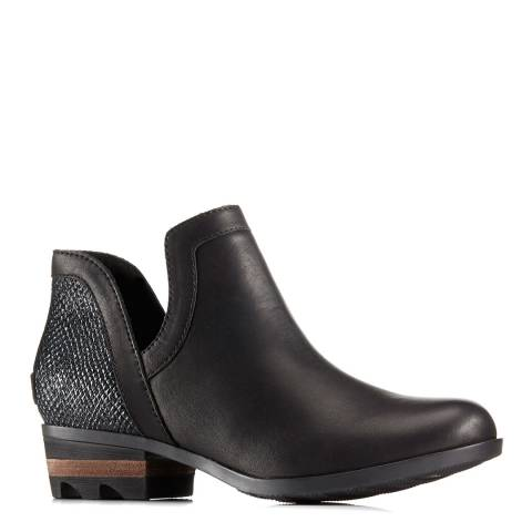Sorel Black Leather Cut-Out Ankle Boots