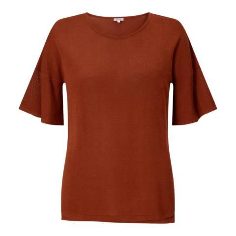 Jigsaw Deep Red Flute Sleeve T-Shirt