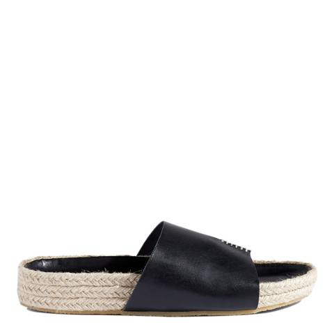 Jigsaw Black Ingrid Stitch Leather Sliders