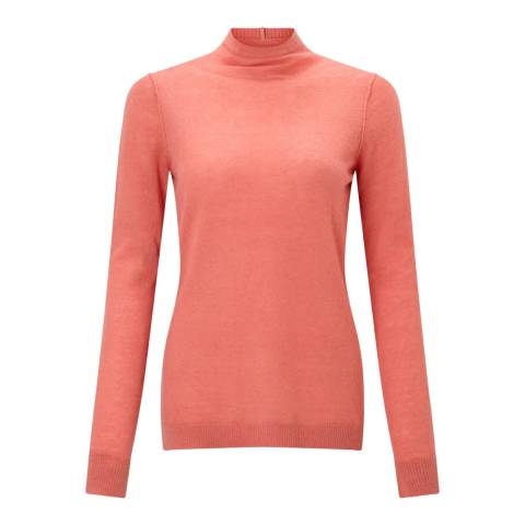 Jigsaw Coral Wafer Polo Neck Cashmere Jumper