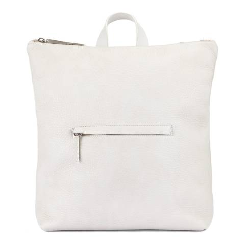 Jigsaw White Stevie Zip Leather Backpack