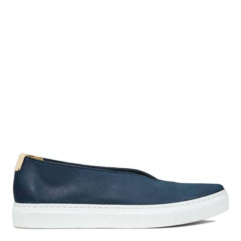 Jigsaw Navy Nico Front Leather Trainers