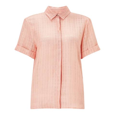 Jigsaw Peach Linen Check Blouse