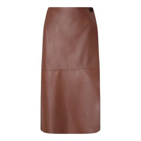 Jigsaw Redwood Wrap Leather Skirt