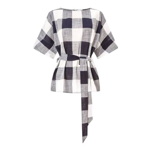 Jigsaw Navy Feather Gingham Belted Top