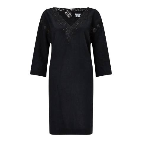 Jigsaw Black Floral Embroidered Linen Dress