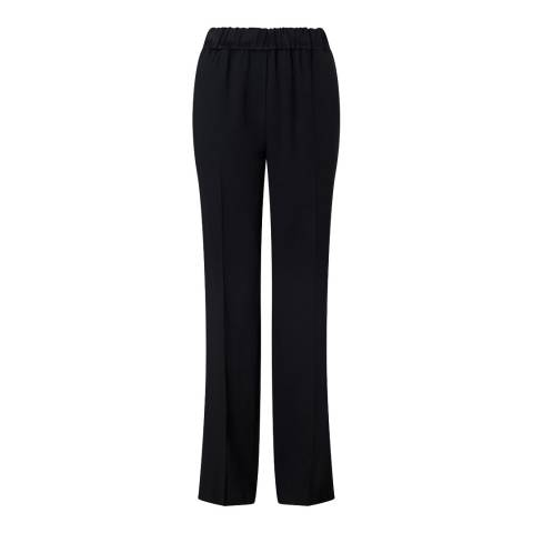 Jigsaw Black Crepe Relaxed Parallel Trousers
