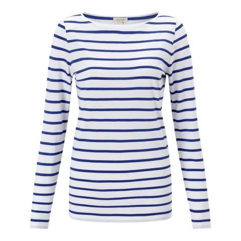 Jigsaw Pacific Blue Retro Stripe Jersey Top