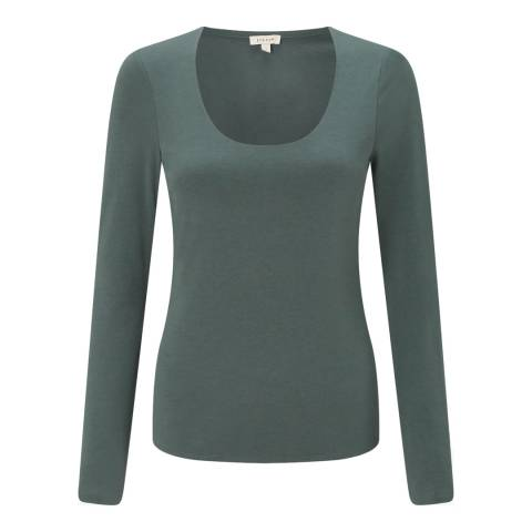 Jigsaw Green Double Front Scoop Top