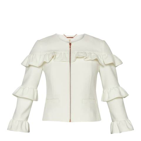 Ted Baker White Frilled Cropped Blazer