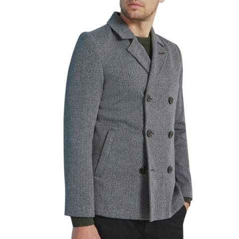 Ted Baker Charcoal Bonde Jersey Cotton Blend Peacoat