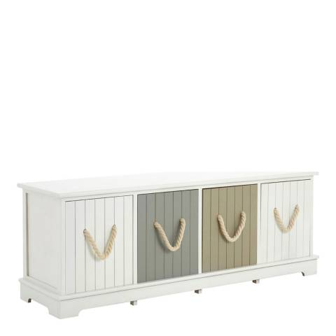 Premier Housewares Maine 4 Assorted Drawers Bench, White/Pastel